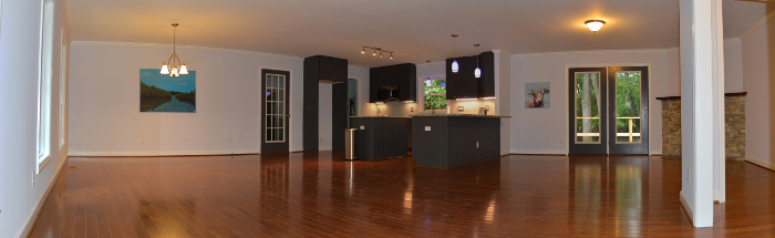 panoramic from foyer into kitchen