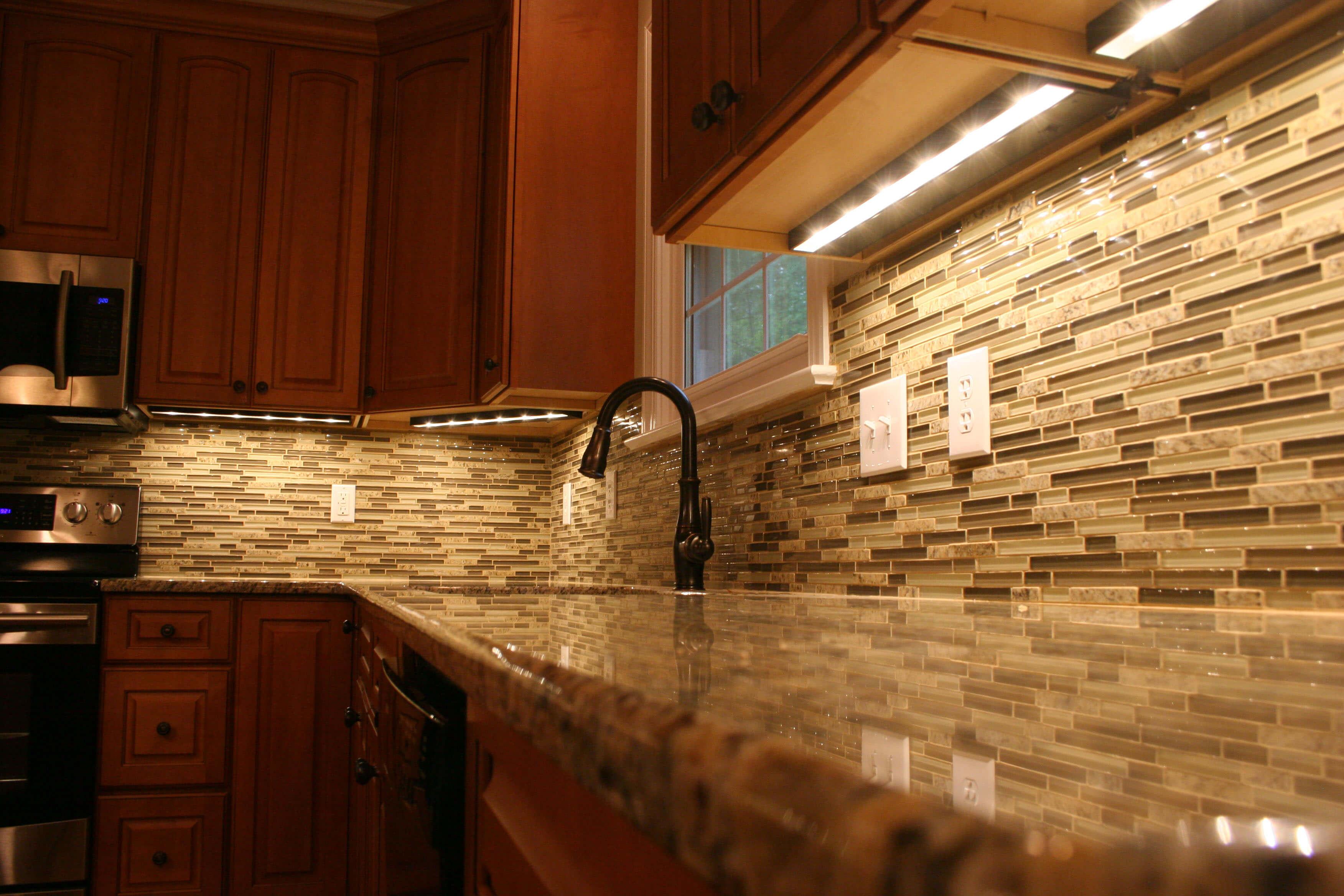 kitchen renovation with tile backsplash