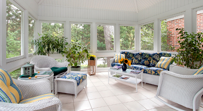 white screened porch
