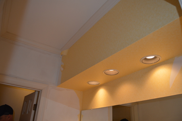 Before Shot of Guest Bathroom Soffits